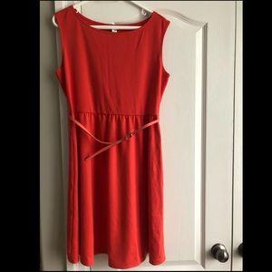 Old Navy Orange Knee Length Dress with Belt